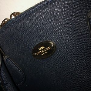 Navy Blue and White Coach Handbag